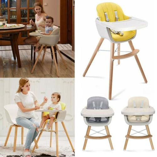 2 in 1 wooden high chair baby