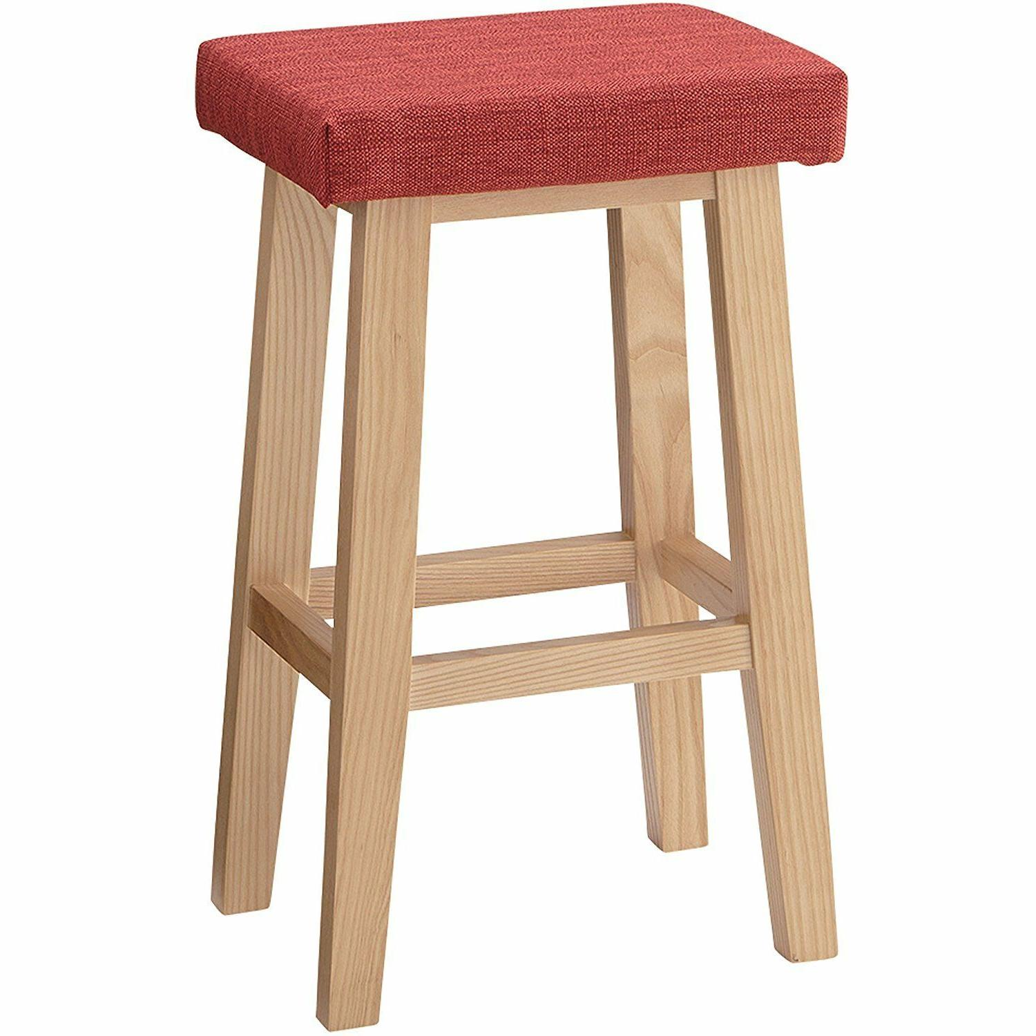 wooden high chair counter red stool kitchen