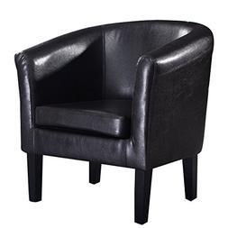 Giantex Modern PU Leather Tub Barrel Club Arm Chair Seat Fur