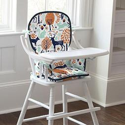Carousel Designs Navy and Orange Woodland High Chair Pad