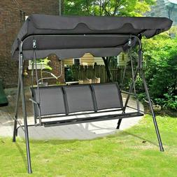 Outdoor Patio 3 Person Porch Swing Bench Chair with Canopy H