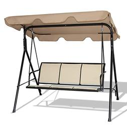Outdoor Patio 3 Person Porch Swing Bench Chair with Canopy -