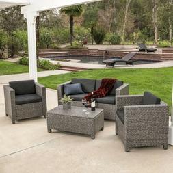 Outdoor Patio Furniture Grey PE Wicker 4pcs Luxury Sofa Seat