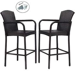COSTWAY 2 PCS Patio Wicker Rattan Bar Chairs Outdoor Garden