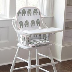 Carousel Designs Pink and Gray Elephants High Chair Pad