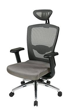 Office Star ProGrid Mesh Back and Fabric Seat, 2-to-1 Synchr