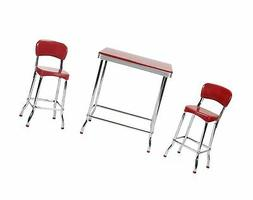 COSCO Red Retro Chrome 3pc High Top Set, Red High Top 3 Piec