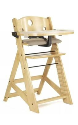 Height Right High Chair in Natural with Infant Insert and Tr