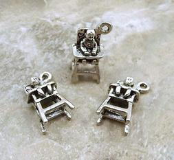 Set of 3 Pewter  Baby in High Chair Charms - 5306