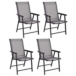 4Pcs/set Outdoor Patio Garden Folding Chairs Seats with Armr