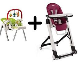 Peg Perego Siesta High Chair, Raspberry + Peg Perego High Ch