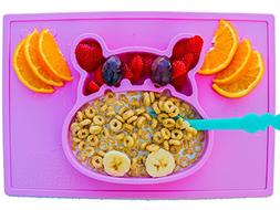 baby silicone placemat and plate tray for infants toddlers a