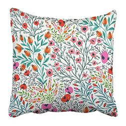 Emvency Throw Pillow Cover Square 20x20 Inches Botanical Flo