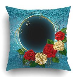 Emvency Throw Pillow Covers Bloom Round With Gold And Red Ro
