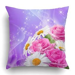 Emvency Throw Pillow Covers Blue Fantasy Roses Daisy And Shi