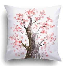 Emvency Throw Pillow Covers Pink Watercolor Blooming Japanes