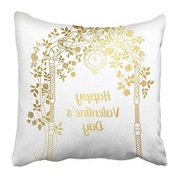 Emvency Throw Pillow Covers Print Gold Rose Garden with Tree