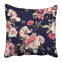 Emvency Throw Pillow Covers Print Red Rose Floral Pattern wi