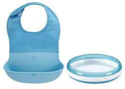 OXO Tot Feeding Plate with Roll-Up Bib, Aqua