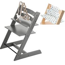 Stokke Tripp Trapp High Chair - Storm Grey & Cushion - Aqua