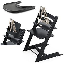 Stokke Tripp Trapp Chair, Black With Baby Set & Black Tray S