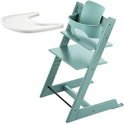 Stokke Tripp Trapp High Chair, Baby Set - Aqua Blue & Tray -
