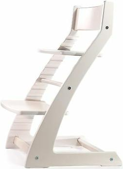 White HeartWood Adjustable Wooden High Chair Baby Highchair