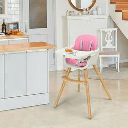 Wooden Baby 3 in 1 Convertible High chair w/ Cushion Home &