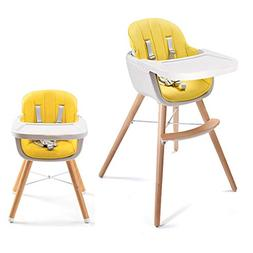 Asunflower Wooden High Chair 3 in 1 Convertible Modern Highc