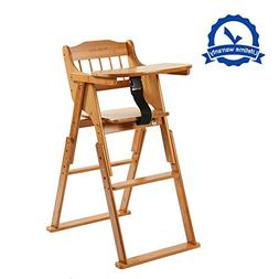 Wooden Folding Baby High Chair With Tray Adjustable Bamboo H