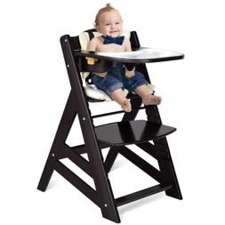 Wooden High Chair, Baby Dining Chair with Adjustable Height,