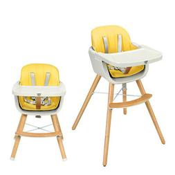 Wooden High Chair Baby Toddler 3 in 1 Convertible Highchair