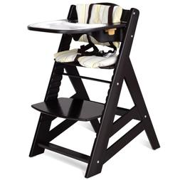 Costzon Wooden Highchair, Baby Dining Chair with Adjustable