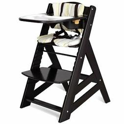 Costzon Wooden Highchair Baby Dining Chair with Adjustable H